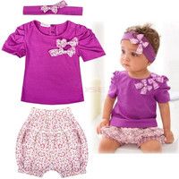 Baby Infant Toddler Girl Clothing Set Short Top T-shirt+ Pants+ Headband Set Clothing Cute Outfit 19872|28001 Children's Clothing
