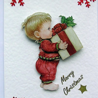 Christmas Card - Merry Christmas Hand-Crafted 3D Decoupage Card - Merry Christmas (1622)