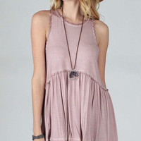 Sleeveless Babydoll Top Racerback - Dusty pink