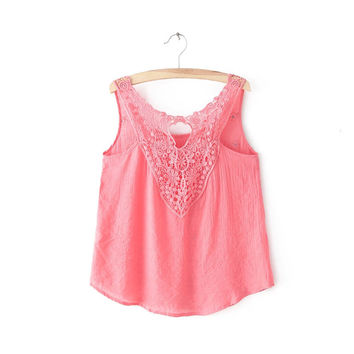 Pink Cutout Lace Keyhole Front Sleeveless Shirt