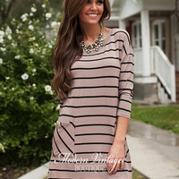 Heart and Soul 3/4 Sleeve Striped Tunic Mocha