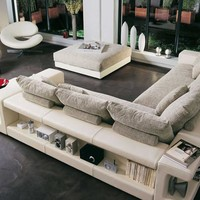 Free Shipping  Modern Design L Shaped  Leather and Fabric Corner Sofa, with Bookshelf Storage, Tea Table, Ottoman Fabric Sofa