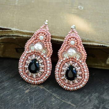 Pink Bead Embroidered earrings Stand out earrings Chandelier earrings Beaded Earrings Blush pink Bead Embroidery Earrings Gift idea for lady