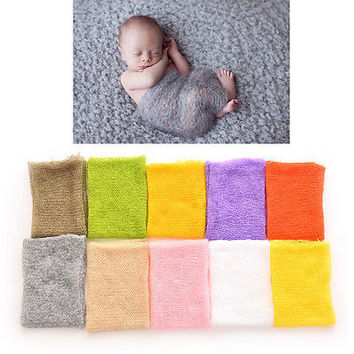 1PCS Newborn Baby Boy Girl Mohair Wrap Knit Photography Prop Baby Photo Prop 3C1