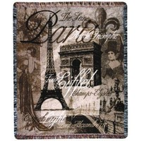 Day in Paris Eiffel Tower Woven Tapestry Throw Blanket - Walmart.com