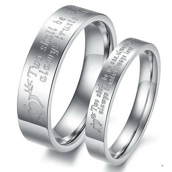 Never Darken Titanium Steel Engraved Love His and Hers  Heart Couple Ring Set  Romantic Lovers Wedding Band Cute Jewelry Fashion