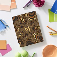 Cool brown stripped fractal. Monogram. iPad Smart Cover