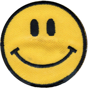 "Wrights Iron-On Appliques-Yellow Happy Face 1-7/8"" 1/Pkg 