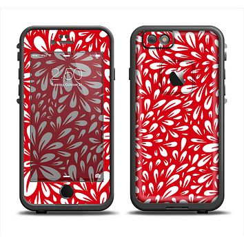 The Bright Red and White Floral Sprout Apple iPhone 6 LifeProof Fre Case Skin Set