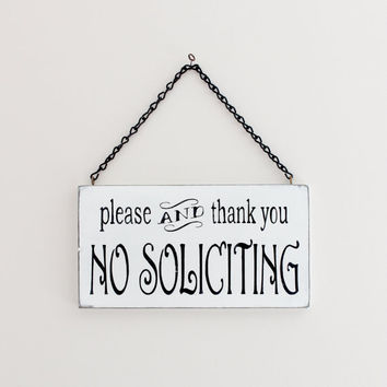No Soliciting Sign, Custom Sign, Wall Art, Wood Sign, Vintage Sign