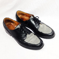 Vintage 80s Punk Rock 2-Tone Black & White Rocksteady Made in England Dress Shoes Sz 9