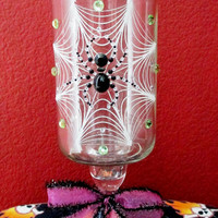 Halloween Apothecary Jar ~ Up-Cycled Glass Jelly Jar with Spooky Spiders and Crystal Embellishments on a Glass Candle Holder.