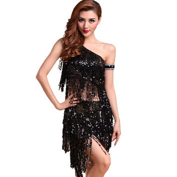 Sexy Women Backless Sequins Tassels Cocktail Clubwear Latin Jazz Ballet Dance Dress Top Skirt Suit6 SM6