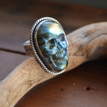 Carved Labradorite Necromancer ring SIZE 12 1/4