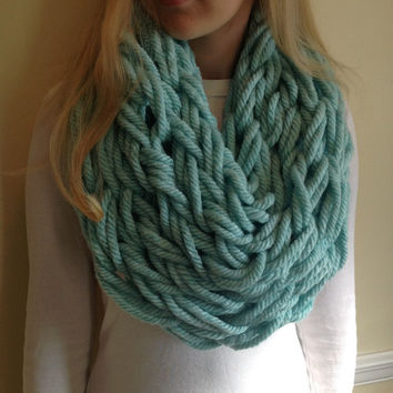 Wintergreen Wool-Blend Arm Knit Cowl, Mint Blue Cowl, Blue Thick Cowl