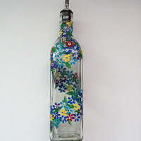 Recycled bottle Oil dispenser, Olive oil, Clear glass, Hand painted, multi colored, Kitchen decor, Spiraling little flowers