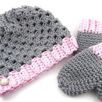 baby girl mittens, baby girl hat, cute baby clothes, baby winter clothes, 6 to 12 months