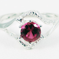Ruby Textured Ring, 925 Sterling Silver, July Birthstone Ring, Ruby Solitaire Ring, 925 Ruby Ring, Textured Sterling Ring
