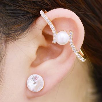 Pearl Up Statement Asymmetrical Ear Cuffs - LilyFair Jewelry