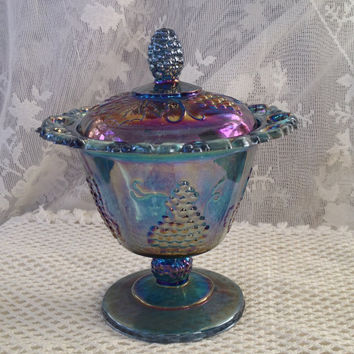Indiana Carnival Blue Glass Compote, Harvest Grape Lace Edge Spooner, Candy Dish, Iridescent Pedestal Dish, Vintage Pressed Glass