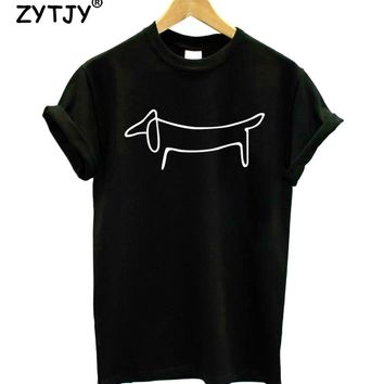 Simple Dachshund Dog Print Women Tshirt Cotton Casual Funny t Shirt For Girl Top Tee Hipster Tumblr Drop Ship HH-66