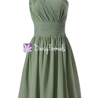 Soft Green Chiffon Formal Wear Knee Length Party Dress Xanadu Bridesmaid Dress (BM716)