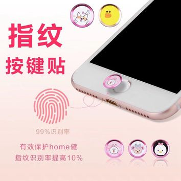 Cartoon Mickey Aluminum Touch ID Home Button Sticker for iPhone 5s/7/8, 6S/8/7 Plus,SE with Fingerprint Identification Function