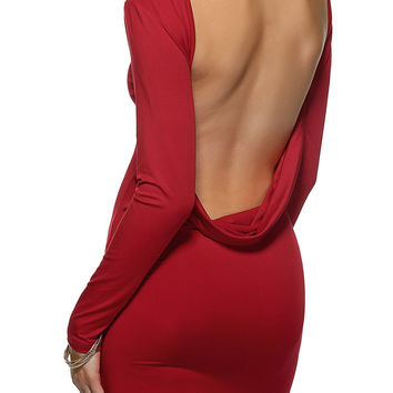 Red Long Sleeve Backless Mini Dress