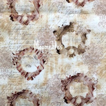 Wine Label Fabric Pino Grigio Chardonnay Sauvignon Blanc Regal Wine Labels Beige Brown Susan Winget Cotton Springs Creative Sewing Material
