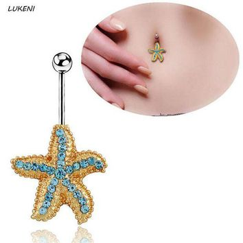 ac PEAPO2Q 1 Pcs/set Simple Starfish 316L Steel Gold Navel Belly Piercing Button Rings Fashion Body Jewelry Piercing Jewelry