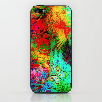 BUTTERFLY FEVER - Bold Rainbow Butterflies Fairy Garden Magical Bright Abstract Acrylic Painting iPhone & iPod Skin by EbiEmporium | Society6