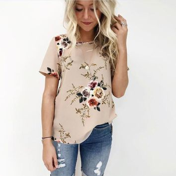Large Size New Brand Summer T Shirt Women Fashion Casual Vintage Floral Print Tshirt Plus Size Elegant Office Tees Top Female