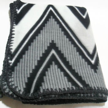 Grey Chevron Fleece Throw Blanket with Charcoal Grey Crochet Edge