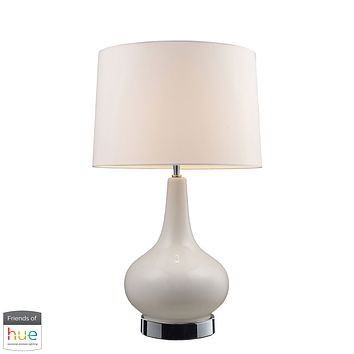 Continuum Table Lamp in White with Chrome Hardware - with Philips Hue LED Bulb/Dimmer