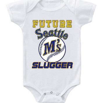 New Cute Funny Baby One Piece Bodysuit Baseball Future Slugger MLB Seattle Mariners #3