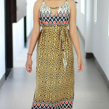 Summer Maxi Dress / Yellow Mustard Dresses / Tribal Dress in Yellow, Black and Orange / Womens Dresses / Ikat Pattern Maxi Dress
