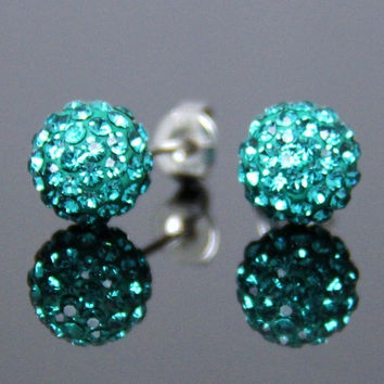 Fashion Jewelry Diamante Sparkly Turquoise Crystal Rhinestone Disco Clay Ball Bling Silver Ear Stud Mini Earrings for Bride Wedding Party Birthday Gift (Size: 8 mm, Color: Turquoise)