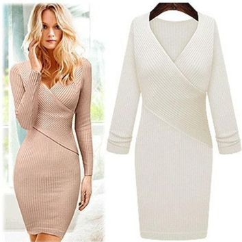 DCCKI2G Cross V-neck knit dress