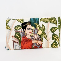 Small Zipper Pouch, Small Wallet, Small Card Pouch, Fabric Pouch, Frida Kahlo Pouch, Coin Purse, Change Pouch, Frida Kahlo in the Garden