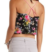 Strappy Floral Print Crop Top by Charlotte Russe