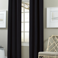 2 Pack Textured Black out Curtain Jet Black
