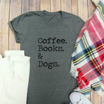 Coffee Books Dogs T-shirt