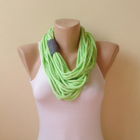 Green gray   infinity scarf chain scarf circle scarf loop scarf cozy scarf woman accessory environmentally friendly