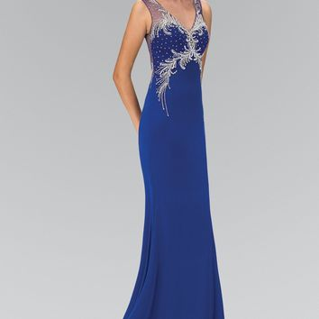 Royal blue sexy evening gown  gls 1358