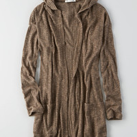 AEO Feather Light Hooded Cardigan , Brown
