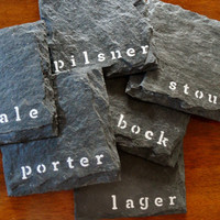 The Beer Slate Coasters (Set of 6) Perfect for Man Cave, Garage, and Fathers Day