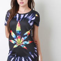 Tie Dye Cannabis Round Hem Dress