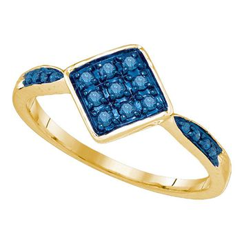 10kt Yellow Gold Womens Round Blue Color Enhanced Diamond Cluster Ring 1/5 Cttw