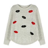 Grey Contrast Lips Pattern Detail Knitted Sweater