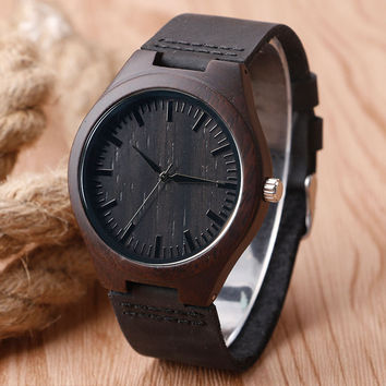 Men's Casual Nature Wood Bamboo Genuine Leather Band Wrist Watch